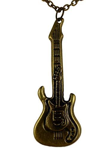 Halskette Kette Musik Note Notenschlüssel messingfarben Gitarre Saite Konzert K1430