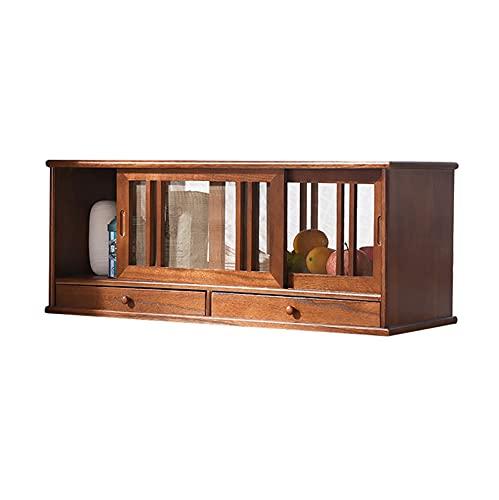 GPAIHOMRY Armadio da cucina in stile semplice con 2 piccoli cassetti, in legno di Paulownia, porta schermo traspirante, 80 cm x 30 cm x 30 cm, 2 colori a scelta