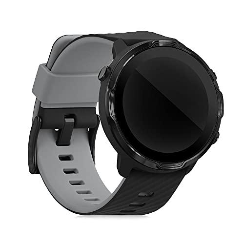 kwmobile Brazalete Compatible con Suunto 7 Smartwatch - Pulsera de Silicona y TPU - Negro/Gris