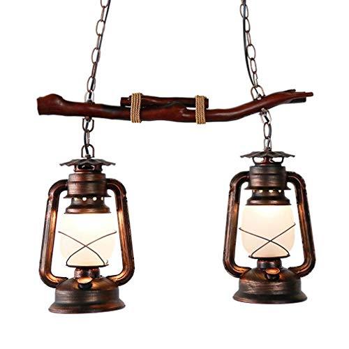 Vintage Industriell Suspension en bois design en fer avec lustre éclairage intérieur lampe de table à manger lampe à pétrole, barre suspendue en métal de chanvre Décoration de salle à manger Lanterne E27 2 flammes