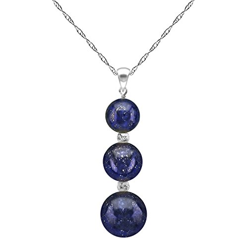 La Regis Jewelry 14k White Gold with Simulated Blue Lapis Gemstones and Sparkling Beads Pendant Necklace 18 inches