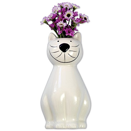 Bits and Pieces - Whimsical Ceramic Cat Hanging Vase - Adorable Wall...