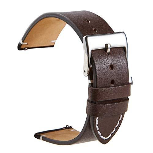 Reloj de cuero Relojes rápidos Relojes Reloj Correa de muñeca 18 mm 20 mm 22 mm 24mm reloj inteligente Correa Relojes Accesorios 10688 (Band Color : Dark brown, Band Width : 24mm)