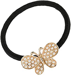 Perfeclan Cute Butterfly Elastic Hair Ties Bands Rope Rings Ponytail Girls - Golden, as described