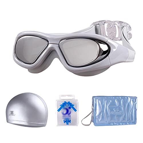 LIMESI Polarizada Gafas de Natación Vista Amplia Gafas para Nadar a Prueba de Fugas Lente HD Antivaho Doble con Correa de Espejo Ajustable para Adultos y Adolescentes-Gray