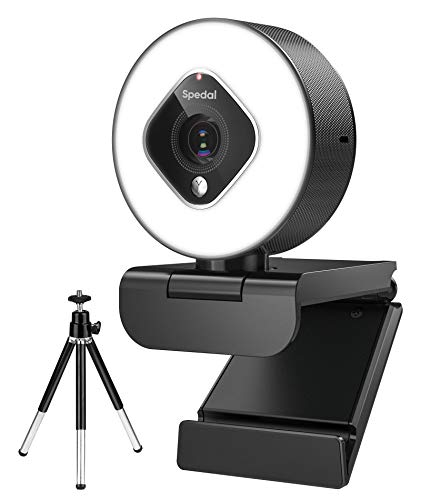 HD Webcam with Ring Light and Zoom Lens, Adjustable Brightness Advanced Autofocus Web Camera with...