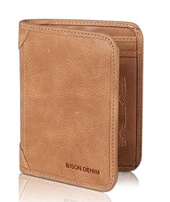 BISON DENIM RFID Blocking Bifold Wallet Front Pocket Genuine Leather Wallets Thin Credit Card Holder for Mens Womens, California Desert, Large