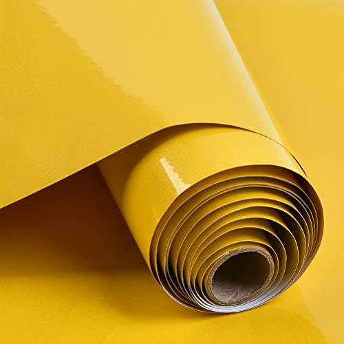 THETHO Selbstklebende Klebefolie Möbelfolie Folie Oberflächenschutz Vinylfolie für Möbel Kleiderschrank 40cm x 300cm Abdeckungsfolie+ Schaber (gelb)