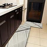 Juego de 2 alfombras de cocina y esterilla, diseño de hojas macro crema y gris, antideslizante, suave, suave, absorbente, para cocina, piso, baño, fregadero, lavandería, oficina