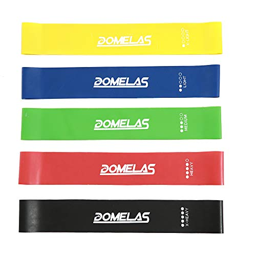 Resistance Workout Band Home Fitness Exercise Band Loop for Physical Therapy, Rehab, Stretching with Guide eBook, Carry Bag, Set of 5