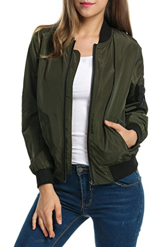 Zeagoo Women's Fashion Spring Short Biker Bomber Jacket Casual Windbreaker (Army Green, S)