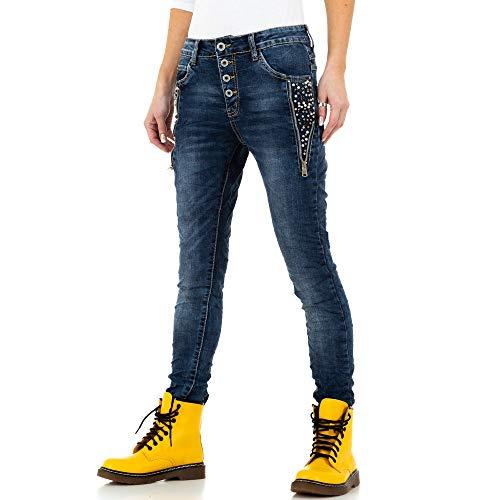 Ital-Design Boyfriend Skinny Jeans Jewelly Jeans Gr. XS/34 Blau