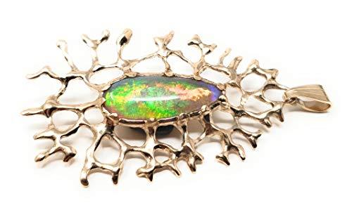 LeoLars-PABE Lightning Ridge Chrystal GEM Opal Anhänger aus 585er Gold, Korallen Design, Unikat, Handarbeit