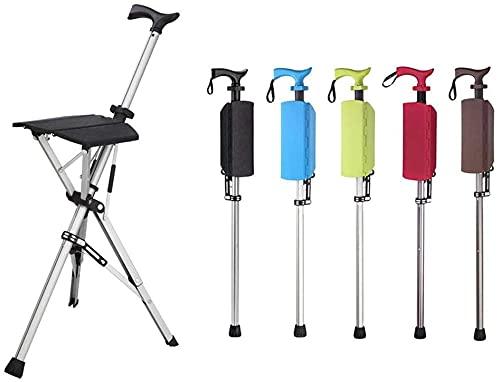 VNMG Sillón plegable multifuncional al aire libre para caminar, trípode portátil, ajustable y plegable, para personas mayores, taburete de viaje al aire libre (azul)