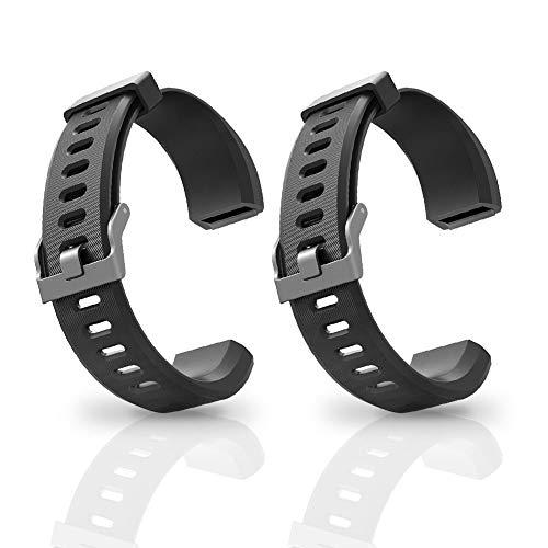 Aneken banda de repuesto ID115Plus HR correa ajustable para Smart Bracelet Fitness Tracker, 2 unidades (Negro)