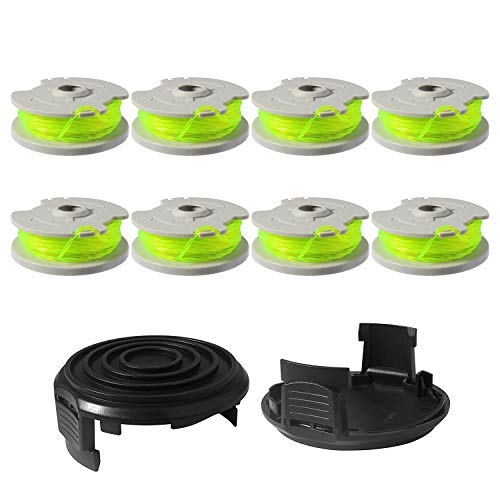 Eyoloty Trimmer Spools Compatible with Worx WA0014 WG168 WG184 WG190 WG191 Weed Eater String Edger Spool Line Refills Parts Auto-Feed 20ft 0.080' with WA0037 Cap Covers (8 spools,2 Cap)
