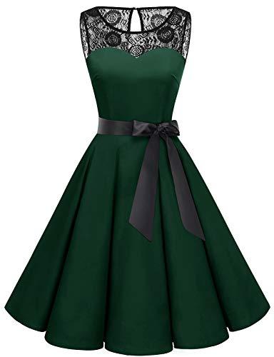 Bbonlinedress Weihnachten Kleid Damen Cocktailkleid Rockabilly Spitzenkleid 50er Retro Vintage Faltenrock Elegant Ärmellos Rundhals Deep Green M
