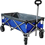 Eurmax Sports Collapsible Sturdy Steel Frame Garden Carts on Wheels Utility Beach Wagon Cart,Bonus 8x8Ft Picnics Mat (Blue & Gray)
