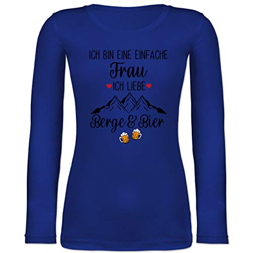 Shirtracer Après Ski - Ich Bin eine einfache Frau, Ich Liebe Berge und Bier schwarz - XXL - Blau - Langarm - BCTW071 - Langarmshirt Damen