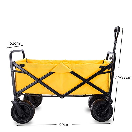 Shopping Trolley All Terrain Utility Wagon Beach Cart With Table Heavy Duty Collapsible Folding For shopping (Color : Yellow, Size : Free size)