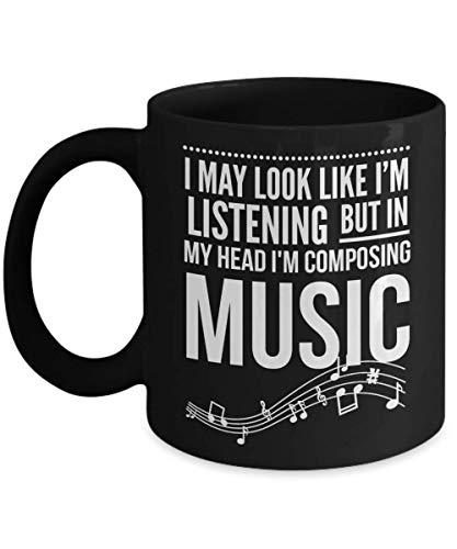 N\A Composición de Taza de música para papá Regalos de Compositor Musical para Hombres y Mujeres Taza de té de músico Puedo parecer Que Estoy Escuchando Tazas Negras Divertidas