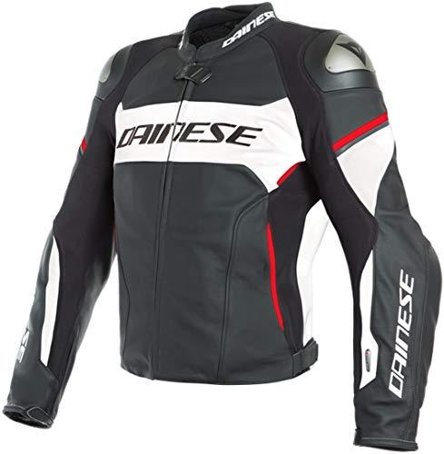 Dainese Racing 3 D-Air® Airbag Motorrad Lederjacke Schwarz/Weiß/Rot 50