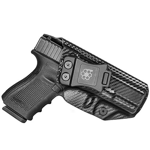 Amberide IWB KYDEX Holster Fit: Glock 19 19X 23 32 45 (Gen 1-5) | Inside Waistband | Adjustable Cant | US KYDEX Made (Black Carbon Fiber, Right Hand Draw (IWB))