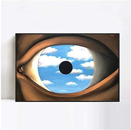 VGSD® Leinwandmalerei Plakate Und Drucke Der Falsche Spiegel 1928 Von Rene Magritte Wandkunst Bild Für Wohnzimmer Salon-50X70Cm