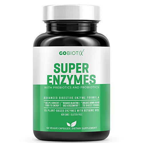 Super Enzymes by GoBiotix | 15 Plant Based Digestive Enzymes w/ Prebiotics, Probiotics & Bioperine for Absorption | Supports Gut Health, Digestion, Lactose Absorption & Leaky Gut Prevention | 60 Count