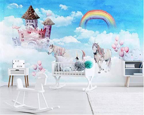 Benutzerdefinierte 3D Wallpaper moderne Hand zeichnen Himmel Regenbogen Schloss Kinderzimmer Hintergrund Wand