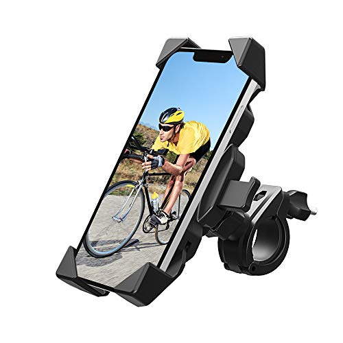 MYSBIKER Bike Phone Mount for Motorcycle - Bike Handlebars, Adjustable, Fits iPhone 11, X, XR, 8   8 Plus, 7   7 Plus, 6s Plus   Galaxy, S10, S9, S8, Holds Phones Up to 3.5' Wide