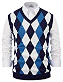 PAUL JONES Mens Slim Fit Argyle/Plain V-Neck Sleeveless Pullover Sweater Vest Navy Blue XL by
