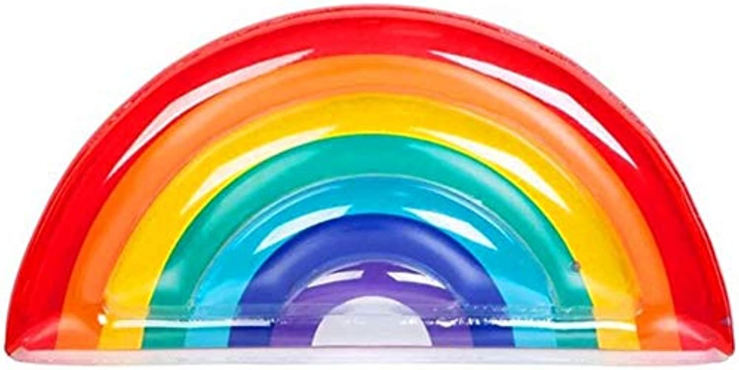 LJXWH Summer supplies Inflatable pvc rainbow floating row Water riding adult water rainbow floating bed