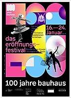 ポスター バウハウス 100 Jahre Bauhaus Festival 2019 Black 額装品 アルミ製ハイグレードフレーム(ホワイト)
