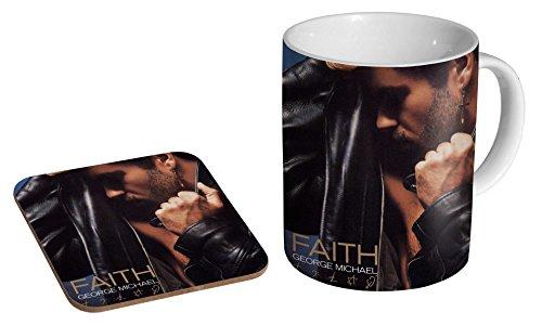 George Michael Faith Keramik-Kaffeetasse + Untersetzer Geschenkset