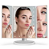 Lighted Makeup Mirror, Homever 3X 2X 1X Magnifying Mirror 21 LED Lighted Tri-Fold