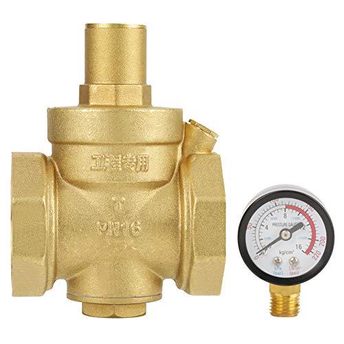 Nichhany Regulador de válvula Reductora de presión de Agua de latón BSP DN50 con caudal de manómetro Ajustable