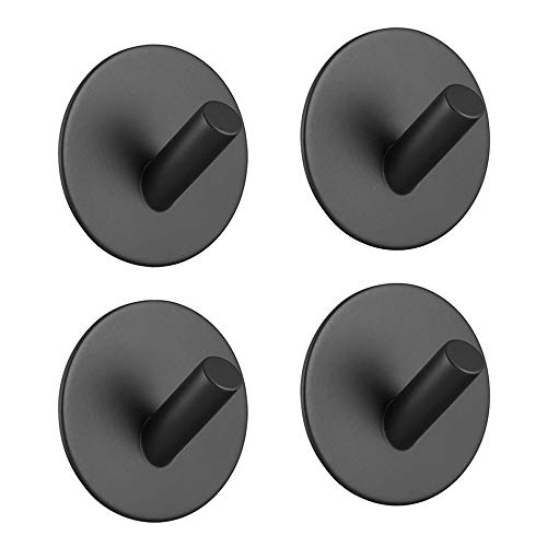 4 Pack Adhesive Hooks Metal Heavy Duty Wall Mounted 3M Sticky Hook for Hanging Coat, Scarf, Bag, Towel, Keys for Home, Bedroom, Entryway NO Damage Wall Hangers Round Matte Black