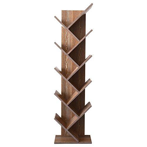 Rebecca Mobili Libreria Marrone Scuro, scaffale 10 mensole, Legno MDF, Stile Contemporaneo, Salotto Camera - Misure: 160 x 44,5 x 22 cm (HxLxP) - Art. RE4793