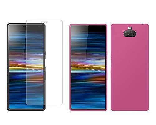 TBOC Pack: Funda de Gel TPU Rosa + Protector Pantalla Vidrio Templado para Sony Xperia 10 [6.0 Pulgadas]. Funda Silicona Ultrafina Flexible. Resistente Golpes Caídas Arañazos.