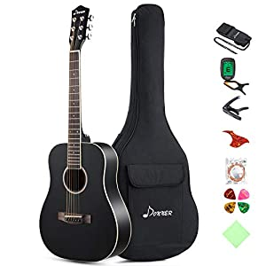 Donner 36'' Dreadnought Acoustic Guitar Package 3/4 Size Beginner Guitar Kit Black DAG-1MB Spruce Body With Bag Capo Tuner Strap String Guitar Picks
