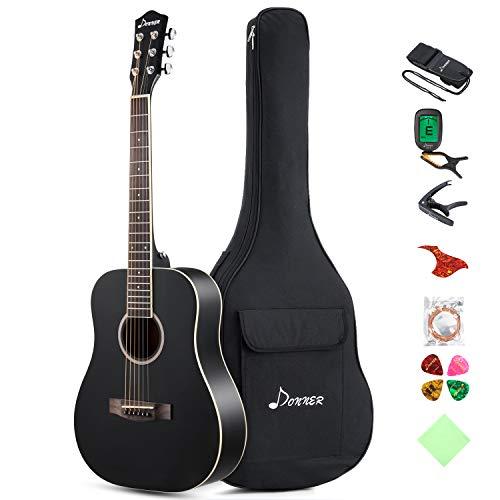 Donner Dreadnought Akustikgitarre 36 Zoll, Akustische Gitarre Anfänger Set Fichte DAG-1MB mit Tasche Capo Tuner Gurt Saiten Plektren (Schwarz)