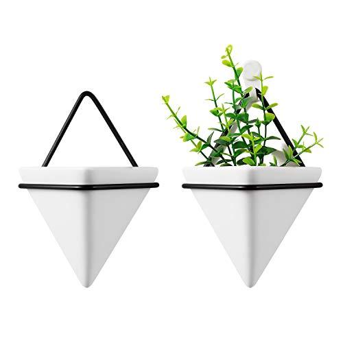 T4U 10cm Dreieck Wandvase Keramik mit Rahmen, Geometrische Wandmotage Pflanzgefäß Hängeampeln für Zimmerpflanzen, Weiß 2er-Set