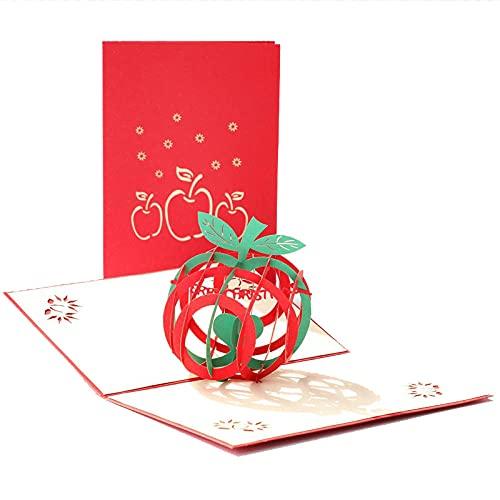 3 Stücke 3D Pop-Up Weihnachtskarte Neujahrsgeschenk Folding Hohl Frucht Papier Carving Segenkarte Für Erntedankfest Geburtstag Festival Grußkarten Danke Karte