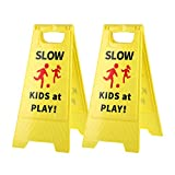 Slow Kids at Play! 2 pack Yellow Child - Safety Slow-Down-double-sided - signs , Black text and red graphics Easier to identify,Yard Signs for Schools,Neighborhoods,Park,Day Cares,Home Use for Street, Sidewalk,Driveway CERLMLAND