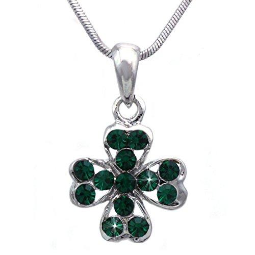 cocojewelry Heart Shape Leaf Clover Irish Shamrock Pendant Necklace (Green 4 Leaf)