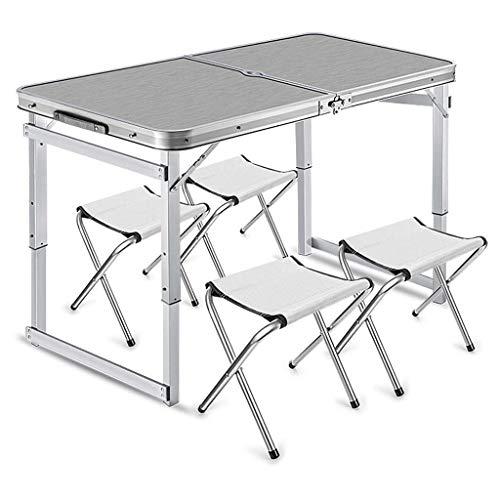 Kaikai Mesa de Picnic, Mesa de Camping portátil, Mesa de Picnic de Altura Ajustable y sillas para 4 Personas, jardín al Aire Libre sillas BBQ taburetes Conjunto Azul (Color : Silver)