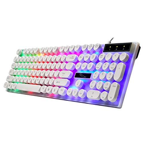 Teclado con teclado redondo para PC/computadora portátil teclado retroiluminado para jugadores de computadora tablero clave