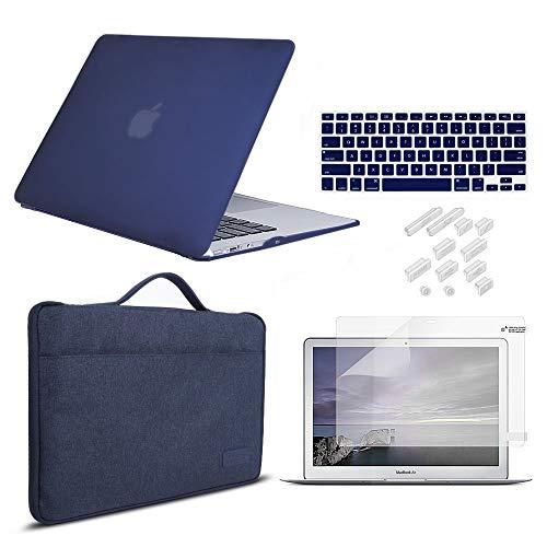 iCasso Hartplastik Schutzhulle Displayschutzfolie Tastaturabdeckung und Staubschutzstopfen fur MacBook Air 13 Zoll Modell A1369A1466 Marineblau