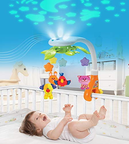 KiddoLab Baby Crib Mobile with Lights and Relaxing Music. Includes Ceiling Light Projector with Stars, Animals.